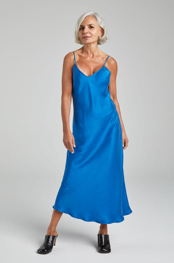 90S SILK SLIP DRESS COBALT BLUE