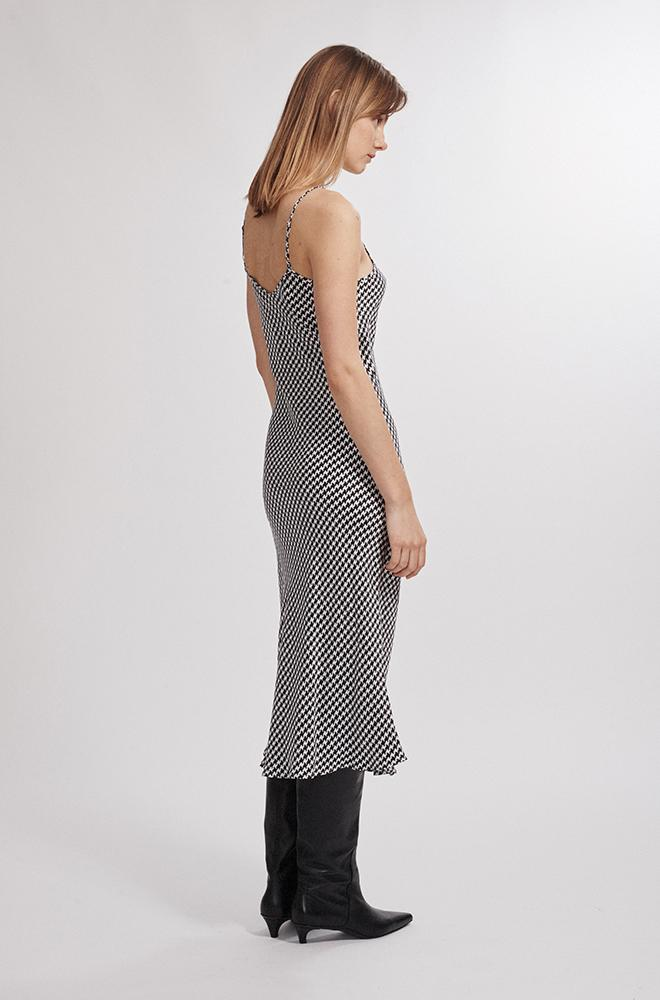 90S SILK SLIP DRESS HOUNDSTOOTH