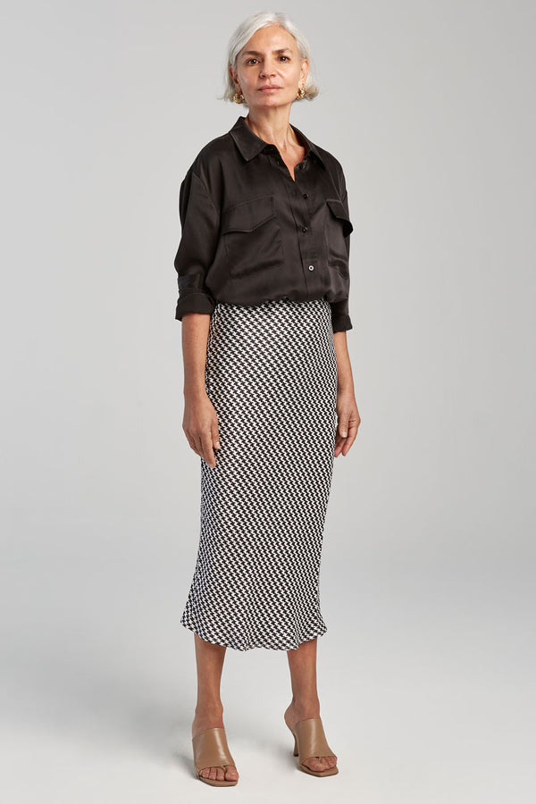BIAS CUT SKIRT HOUNDSTOOTH