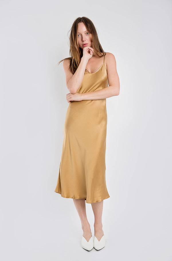 90S SILK SLIP DRESS CAMEL