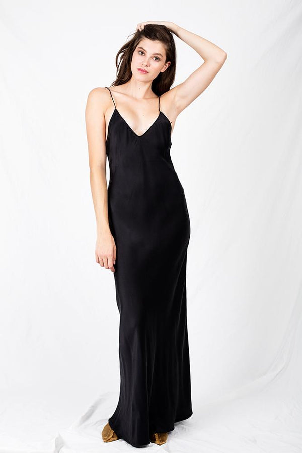 LONG BIAS CUT DRESS BLACK