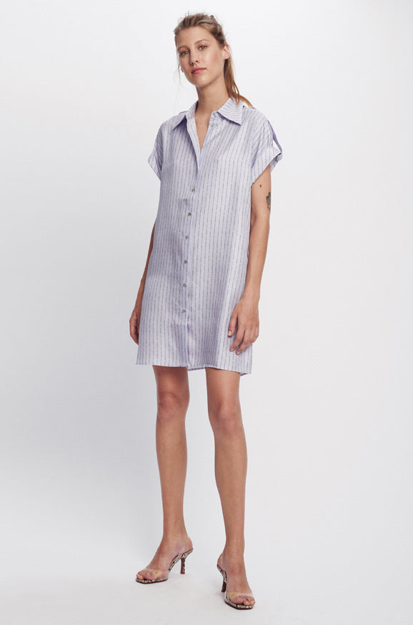 DROP SHOULDER 60S DRESS LILAC LOGO