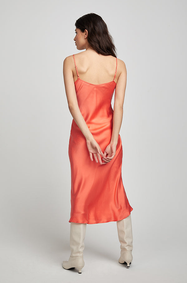 90S SILK SLIP DRESS CORAL