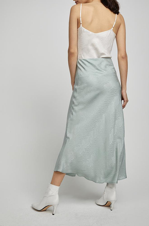 BUTTON UP BIAS CUT SKIRT EUCALYPTUS JACQUARD
