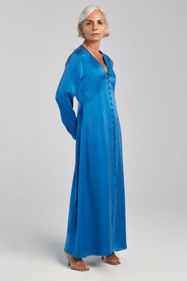 LONG SLEEVED V NECK DRESS COBALT BLUE