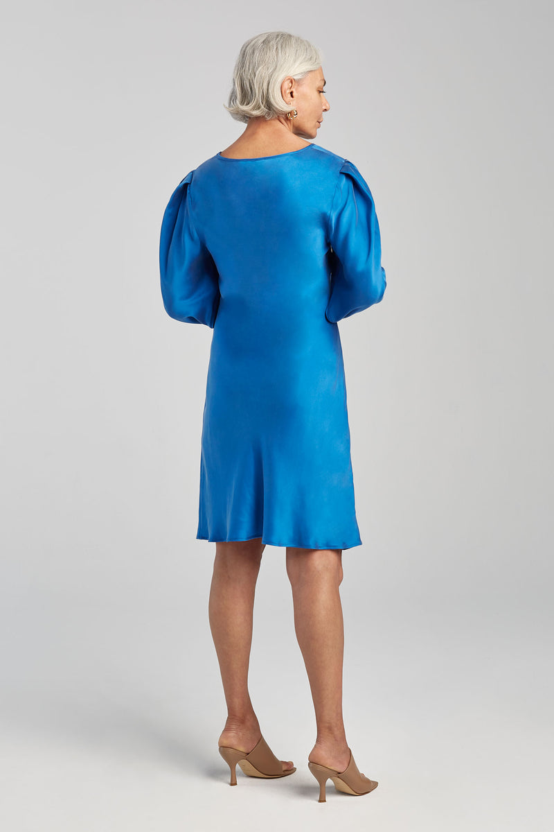 ORIGAMI SLEEVE DRESS COBALT BLUE