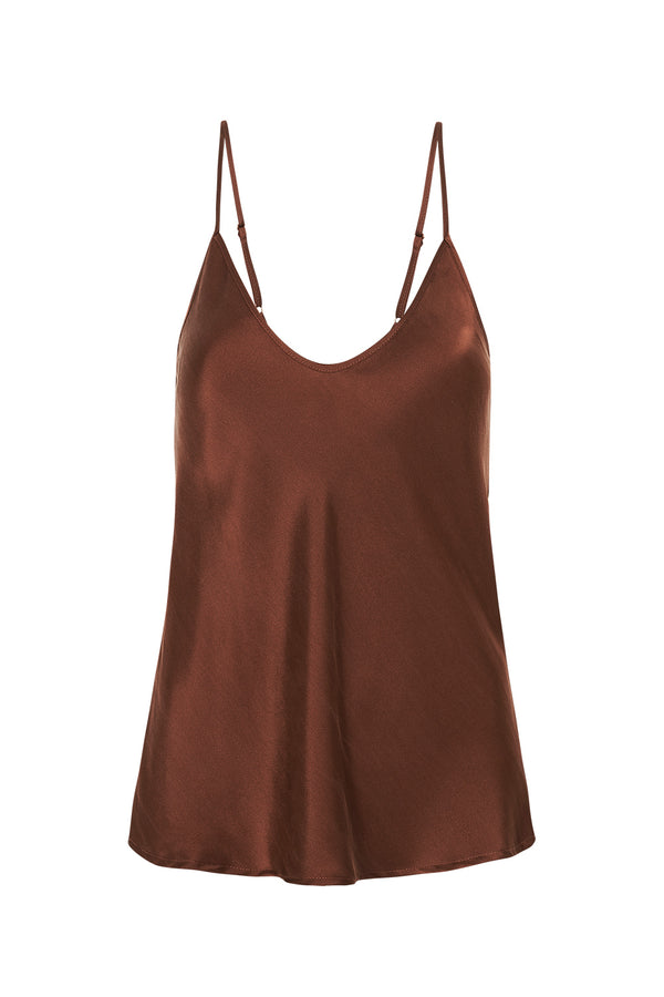 BIAS CUT CAMI CHOCOLATE