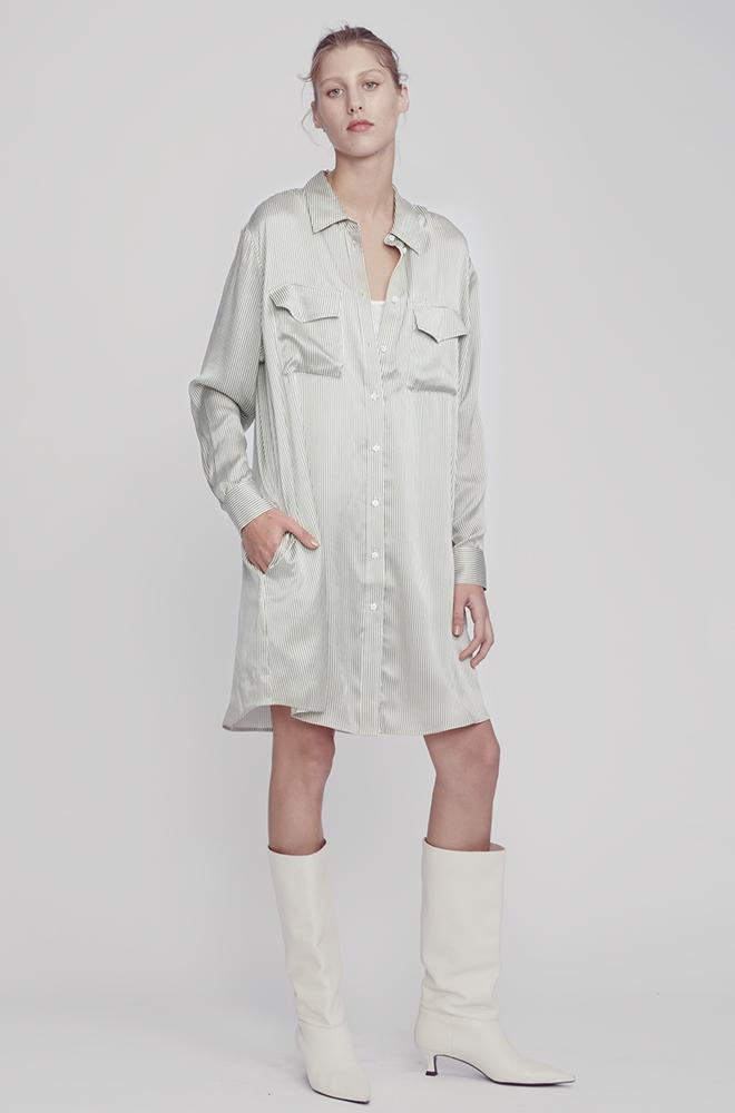 BOYFRIEND SHIRT DRESS FINE OLIVE STRIPE