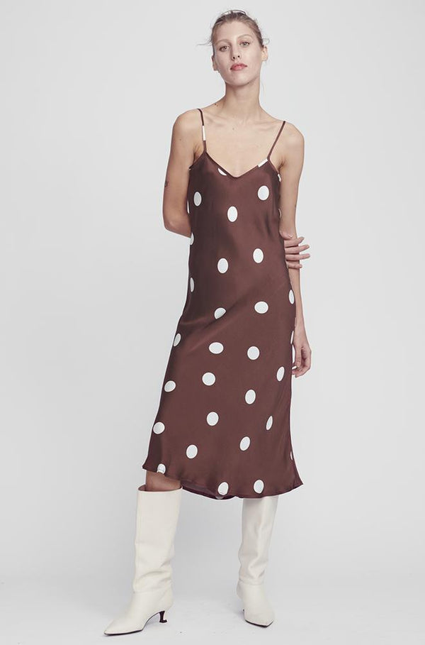 90S SILK SLIP DRESS CHOCOLATE POLKA DOT