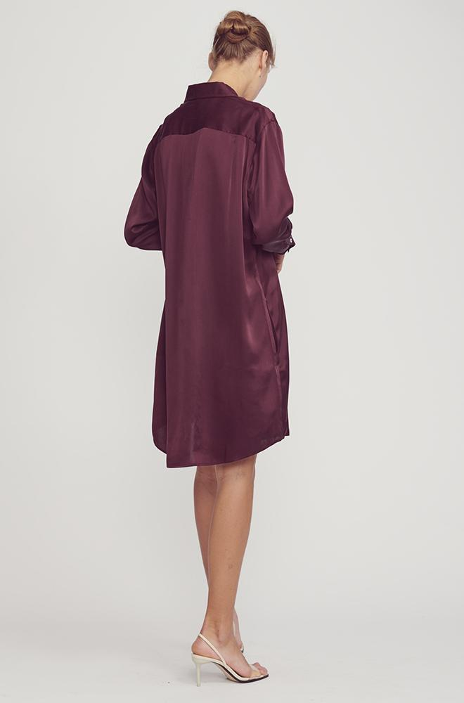 BOYFRIEND SHIRT DRESS EGGPLANT