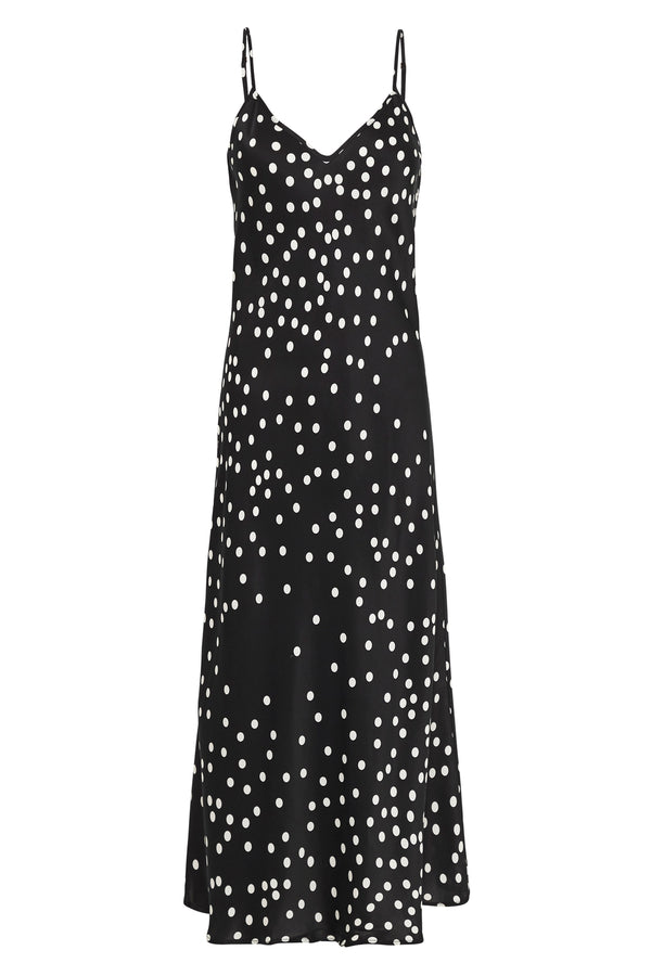 90S SILK SLIP DRESS BROKEN DOT