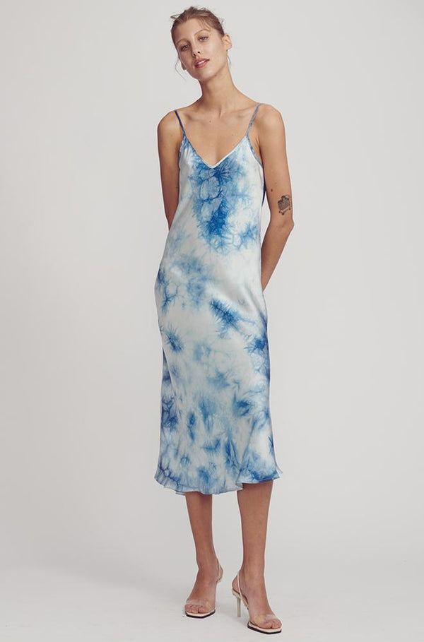 90S SILK SLIP DRESS CHINESE TIE DYE