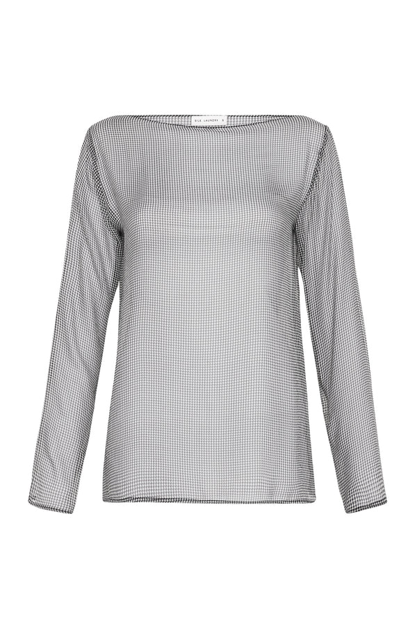 SHEER LONG SLEEVED TOP HOUNDSTOOTH