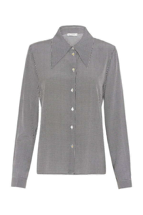 SHARP COLLAR SHIRT HOUNDSTOOTH