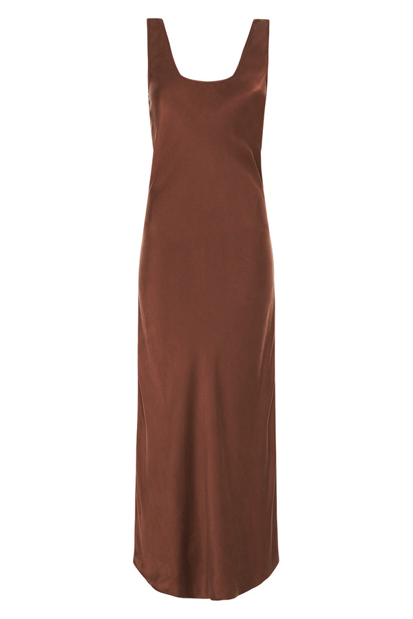 SCOOP NECK BIAS DRESS CHOCOLATE