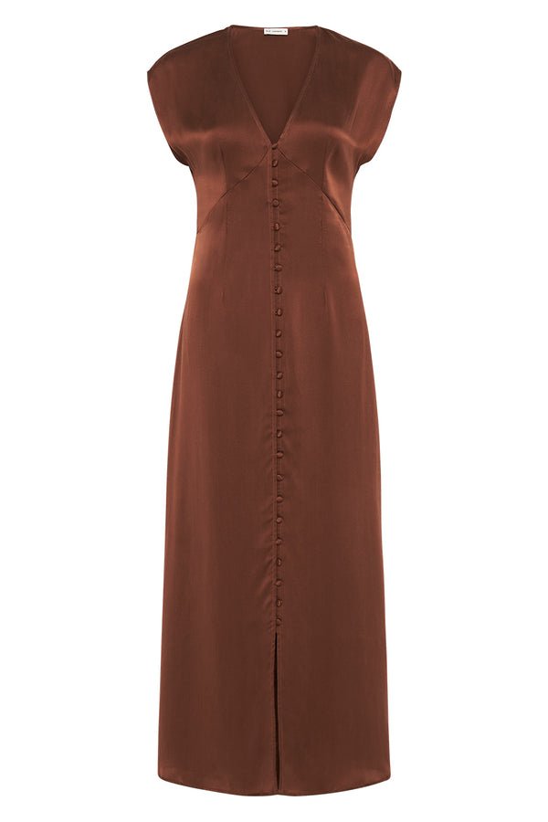 V NECK DRESS CHOCOLATE