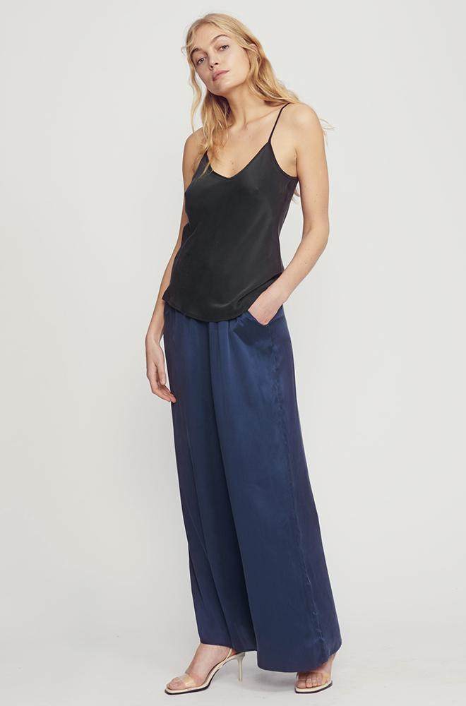 WIDE LEG SILK PANTS NAVY