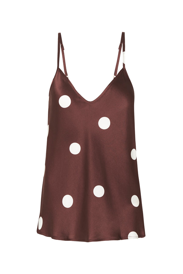 BIAS CUT CAMI CHOCOLATE POLKA DOT