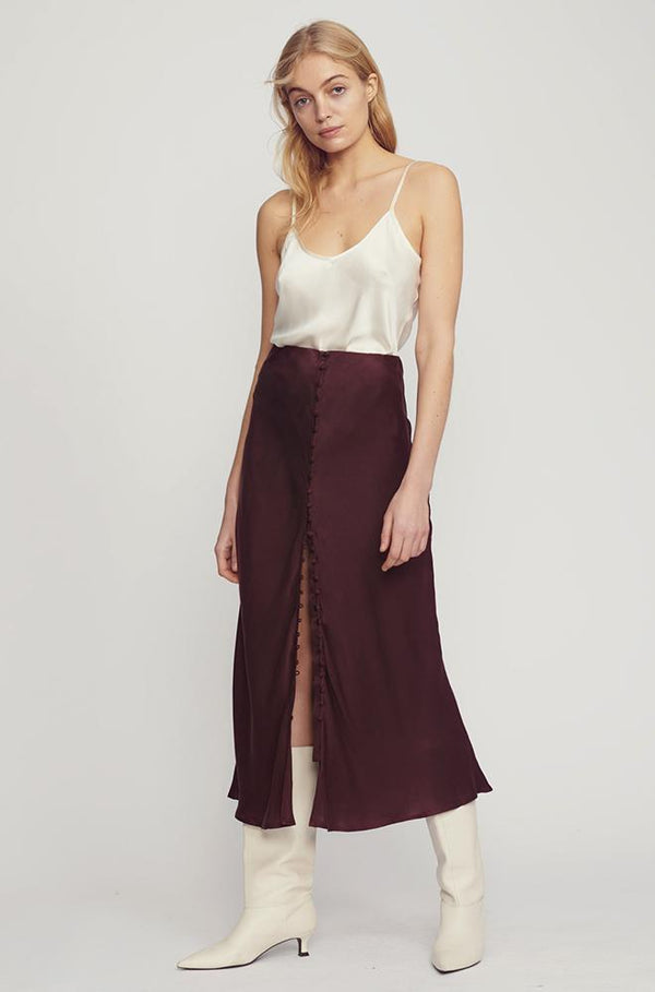 BUTTON UP BIAS CUT SKIRT EGGPLANT