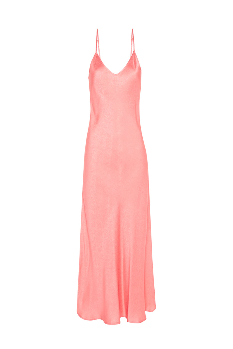 90S SILK SLIP DRESS PINK JACQUARD