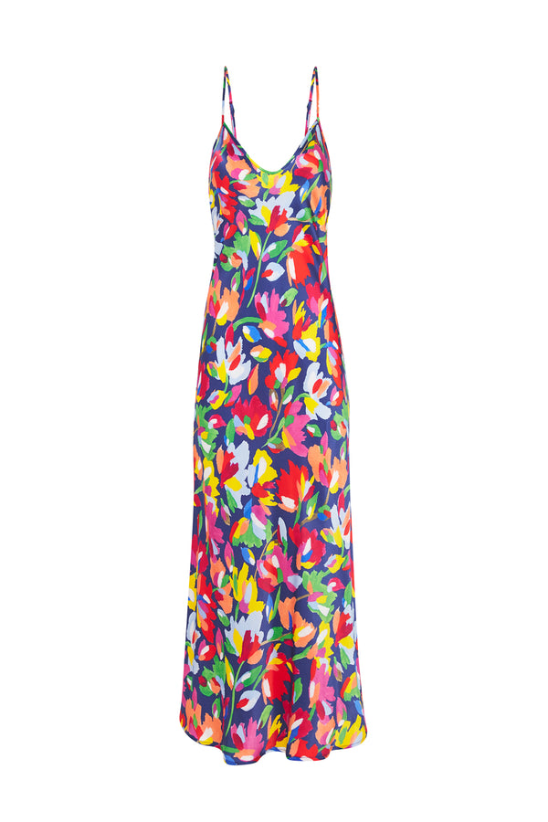 90S SILK SLIP DRESS AQUARELLE