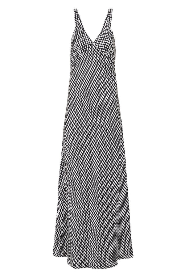 DECO SLIP DRESS HOUNDSTOOTH