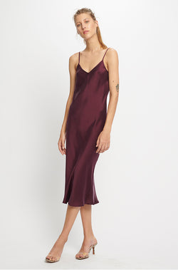 90S SILK SLIP DRESS EGGPLANT