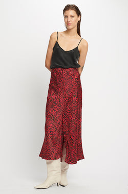 BUTTON UP BIAS CUT SKIRT RED LEOPARD