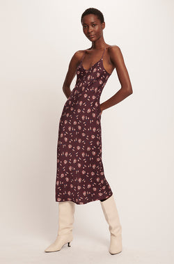 90S SILK SLIP DRESS PLUM FLORAL