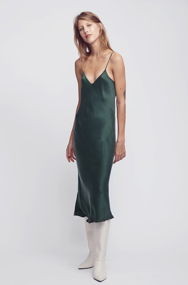 90S SILK SLIP DRESS HUNTER GREEN