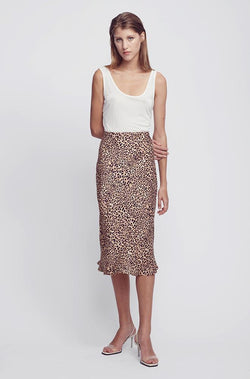 BIAS CUT SKIRT LEOPARD