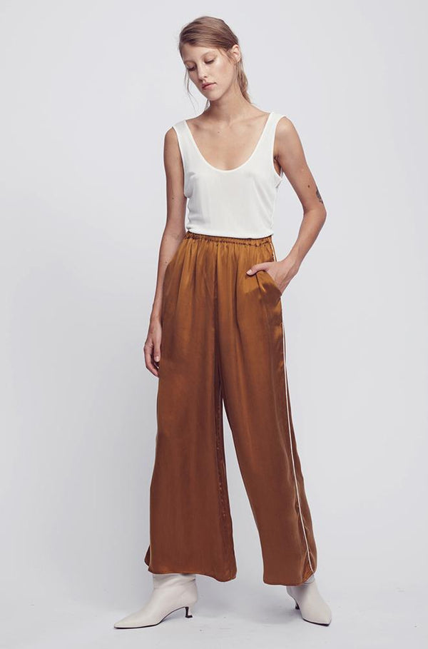WIDE LEG PANTS WITH PIPING CAMEL/WHITE