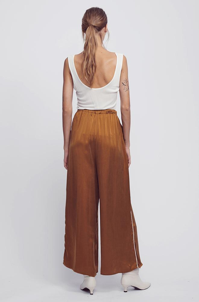 WIDE LEG PANT WITH PIPING CAMEL/IVORY