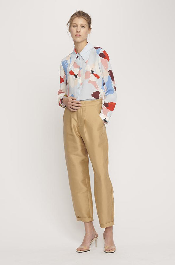 SHARP COLLAR SHIRT FLOWERS