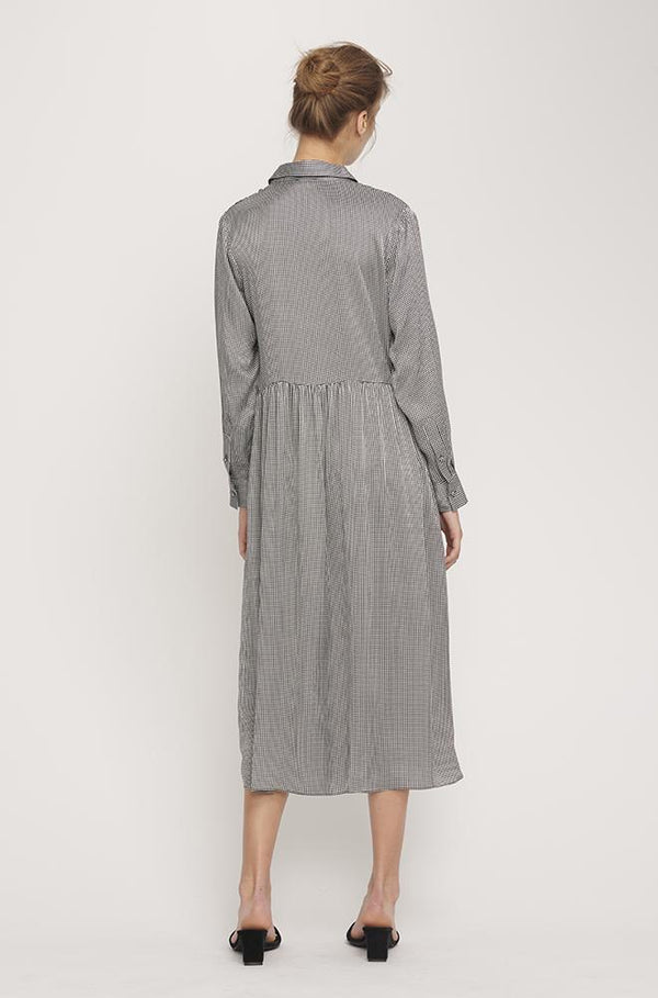 LONG BUTTON FRONT SHIRT DRESS HOUNDSTOOTH