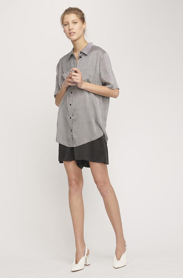 SHORT SLEEVE BOYFRIEND SHIRT HOUNDSTOOTH