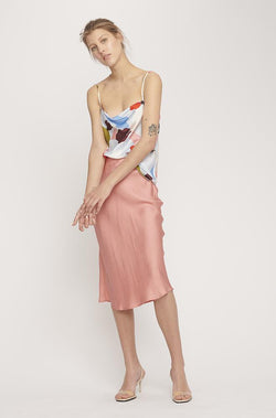 BIAS CUT SKIRT PINK JACQUARD
