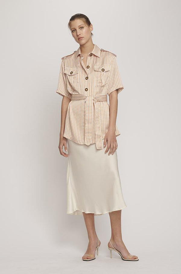 MILITARY BELTED SHIRT CAMEL HOUNDSTOOTH