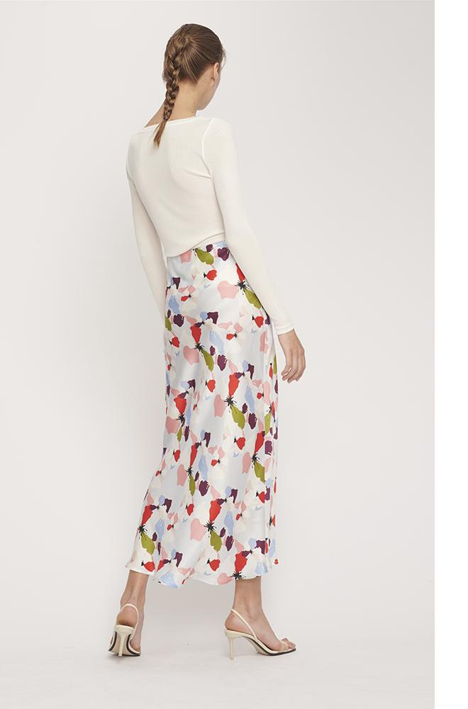 BUTTON DOWN BIAS CUT SKIRT FLOWERS