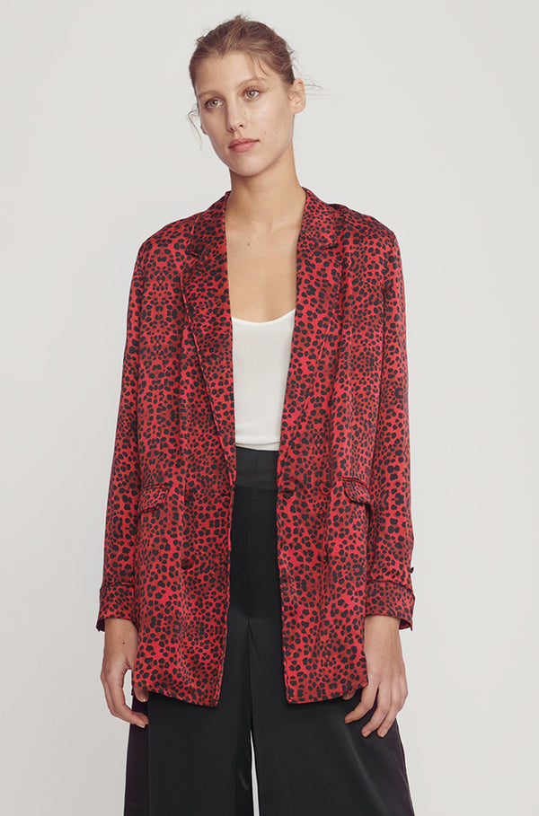 RELAXED BLAZER RED LEOPARD
