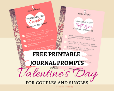 "Free printable journal prompts ""Love"" & ""Self Love"" for Valentines Day"