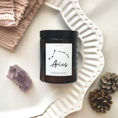 Aries zodiac amber candle