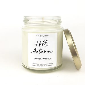"""Hello Autumn"" Toffee Vanilla Soy Candle"