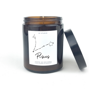 Pisces zodiac amber candle
