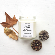 "Load image into Gallery viewer, ""Hello Autumn"" Toffee Vanilla Soy Candle"