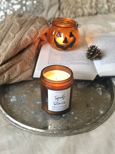 """Spooky Stories"" Halloween Patchouli soy candle - medium"