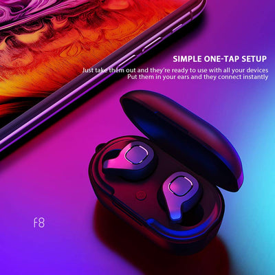 Mini Wireless BT Earbuds Twins Stereo In Ear Style Earbuds For Sports 10 Hours F8 Wireless Earbuds Bluetooths earphone