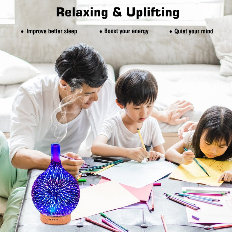 100ML 3D Glass Essential Oil aroma ultrasonic diffuser, Ultrasonic Humidifier