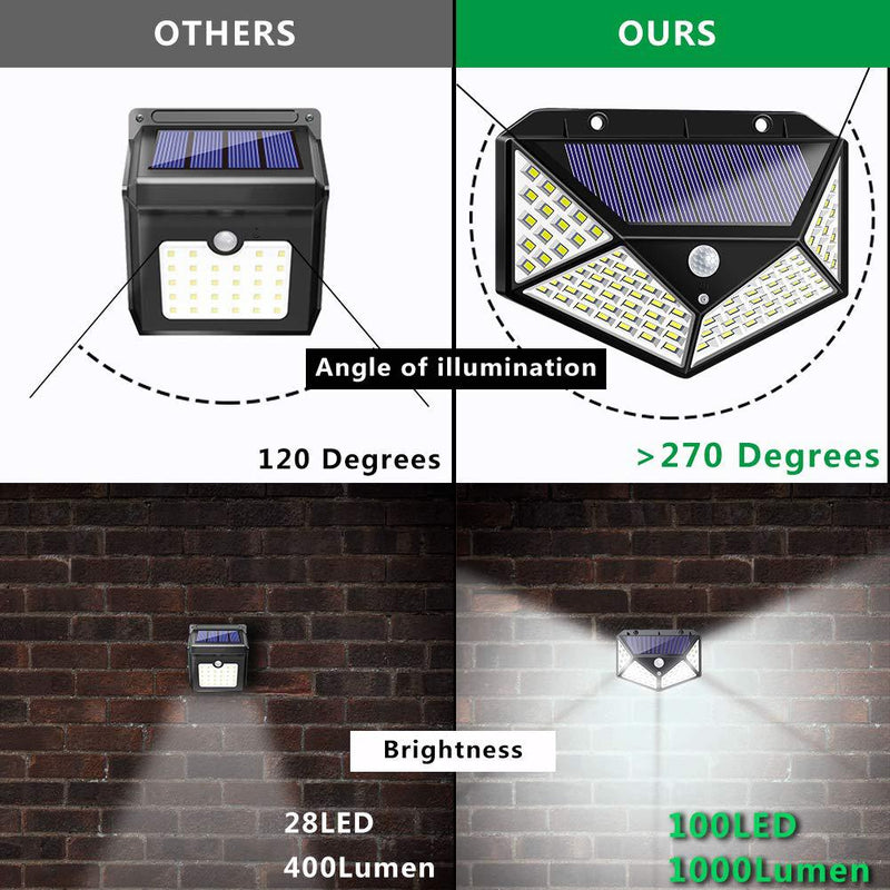 Solar Lights Outdoor,【2 Pack】100 LED Solar Security Light with Motion Sensor Solar Waterproof Wall Light Solar Powered Light with 3 Modes for Garden,Outside