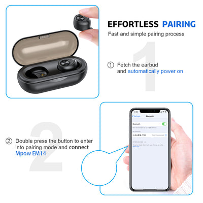 Sport Bluetooth Earphones V5.0 Wireless Earphone TWS Earbuds IP010-A 500Mah Mini Charging Case Deep Bass Stereo Sound with Mic